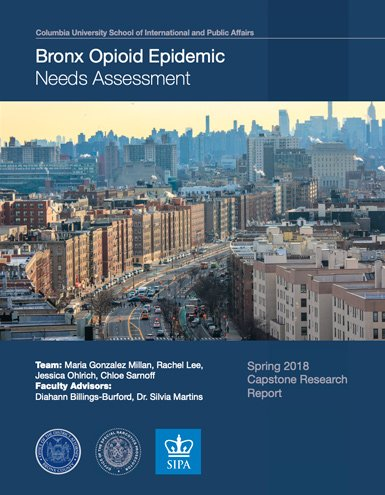 2018 opiod epidemic report cover with picture of Bronx NY