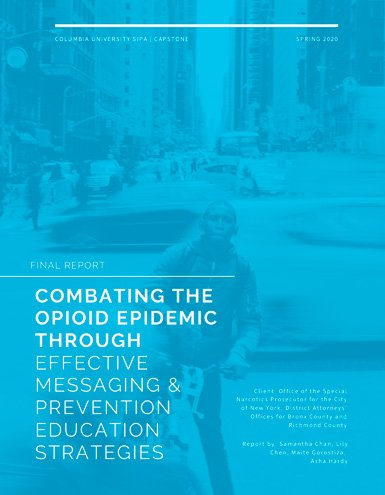 opioid spring 2017 report cover blue with a faded African American boy riding his bike in NYC