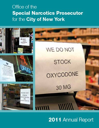 "Annual report 2011 drg store wuth a sign saying ""we do not stock oxycodone"