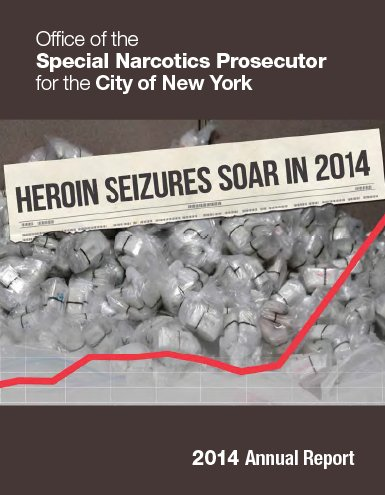 report cover with a photo of heroin on it