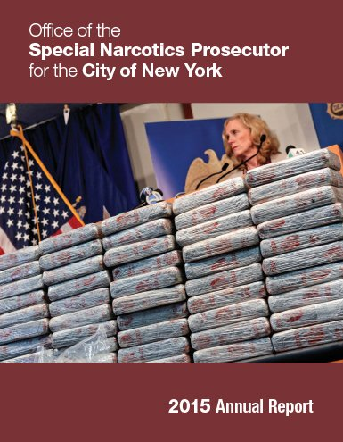 report cover with a photo of bridget and massive amount of heroin they seized